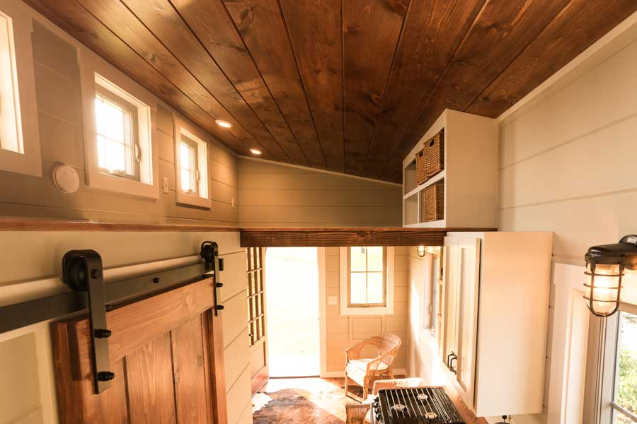 Tiny house barn door by Timbercraft Tiny Homes