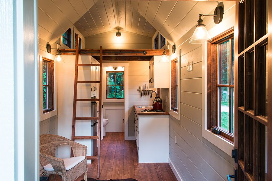 Tiny house interior light by Timbercraft Tiny Homes
