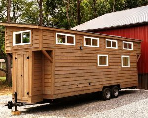 Tiny house with cedar siding
