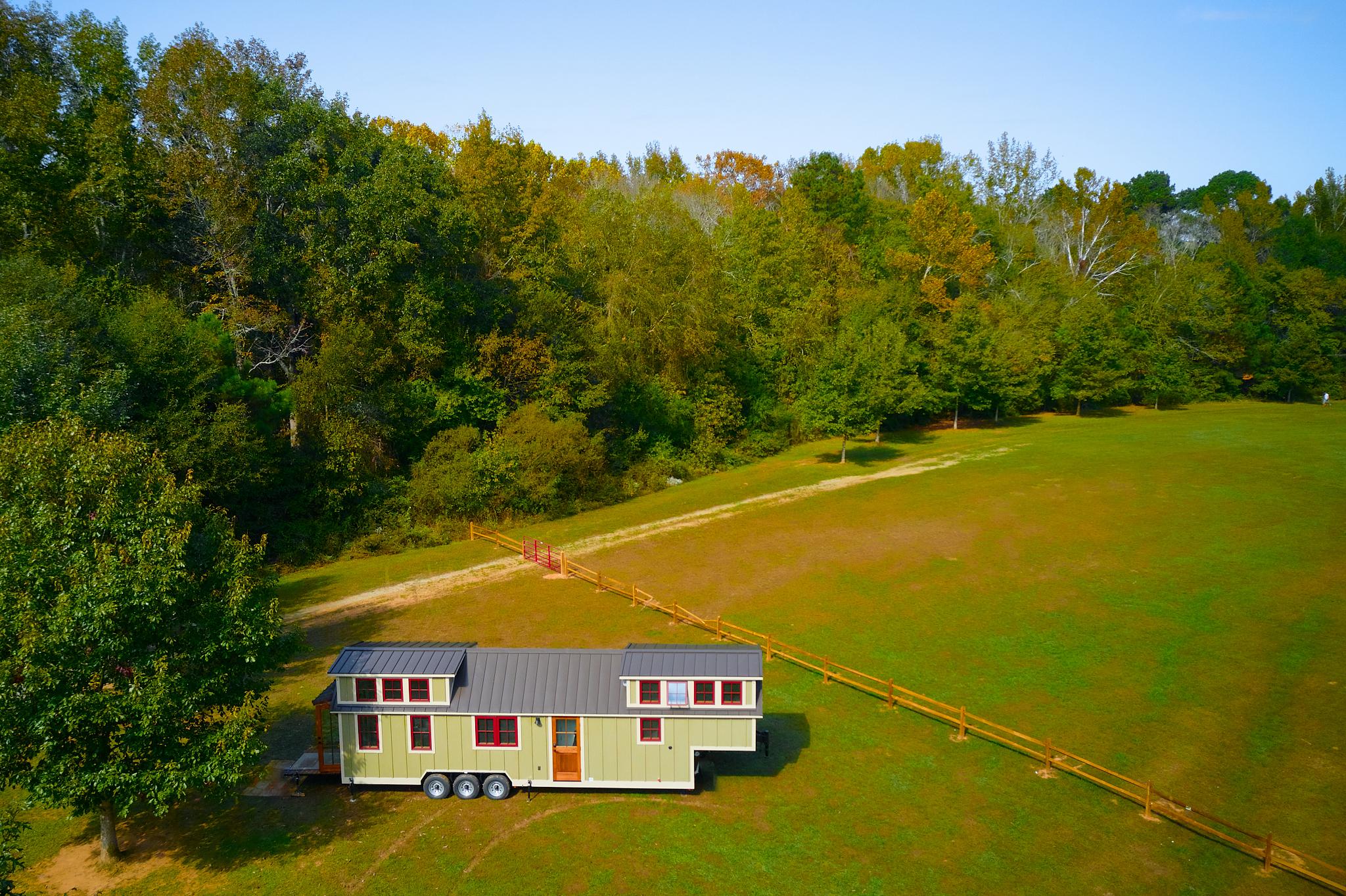 Tiny house drone shot