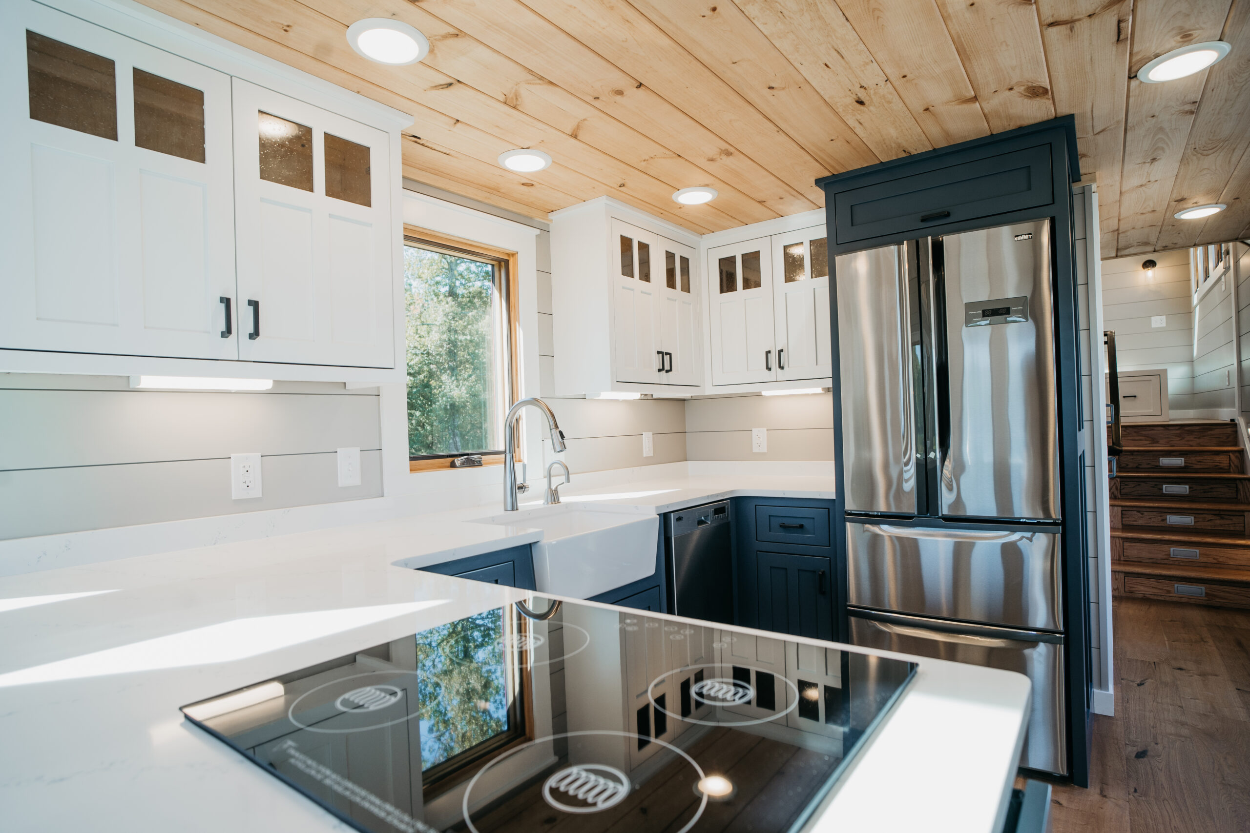 Tiny house kitchen in blue